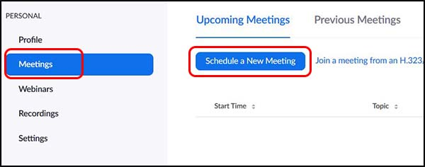 Meeting tab