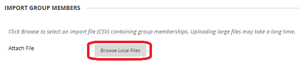 Browse local files button to import group memebers