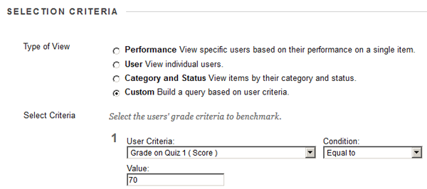 Select criteria for Smart view