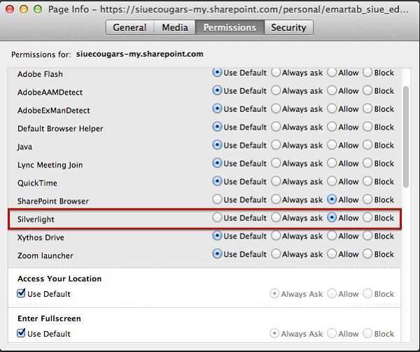 silverlight settings in firefox (mac)