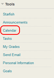 Calendar from the myBlackboard home page