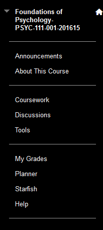 Default course menu