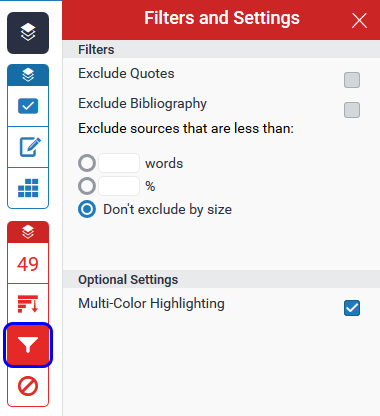 Filters and settings