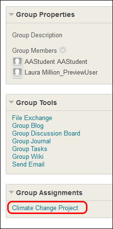 click on group assignment