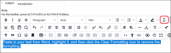 Text editor highlighting the Clear Formatting icon