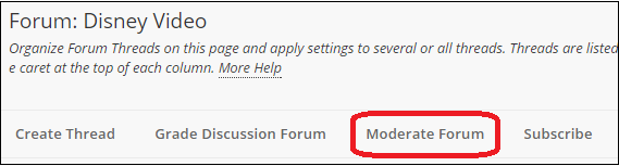 moderate forum button
