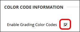 Enable grading color codes