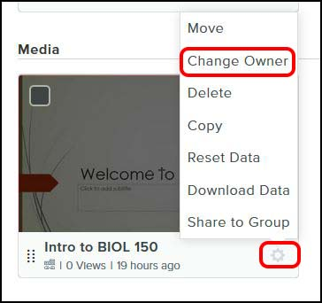 click change owner in the menu