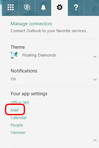 Image showing to click on Mail under 'Your App Settings'.