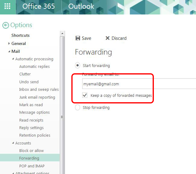 Image shows to check the box next to 'Keep a copy of forwarded emails'