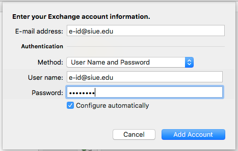Image showing a window that appears for you to add your User name and Password.  Then click Add Account.