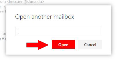 Image showing to type and add an email address then to select the Open button