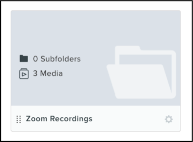 "Zoom Recording folder from TechSmith Knowmia with 0 Subfolders and 3 Media listed on the cover. Item is labeled ""Zoom Recordings"" with a small gear on the lower right corner and a menu (eight stacked dots in two rows) on the lower left corner."