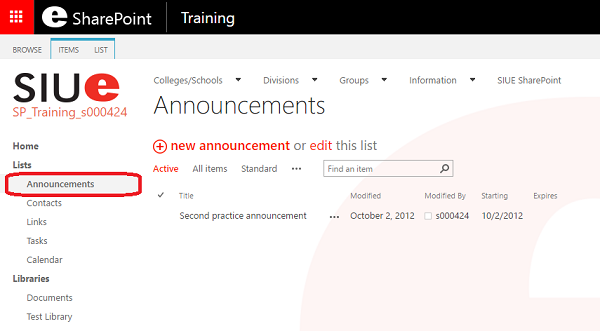 SharePoint New Announcement
