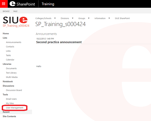 SharePoint Site User Management