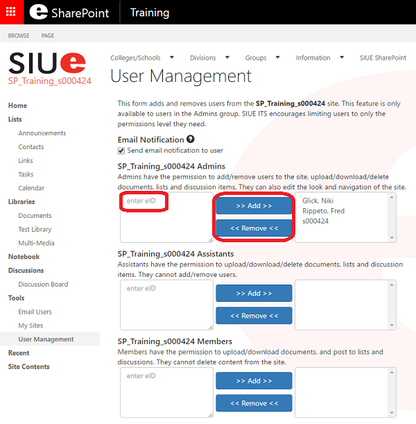 SharePoint Add Remove Users