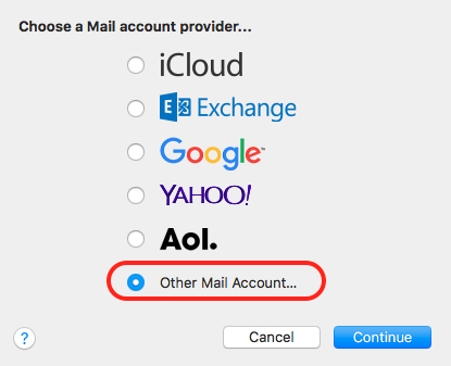 Choose Other Mail Account
