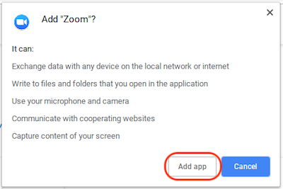 Add Zoom App to Chrome