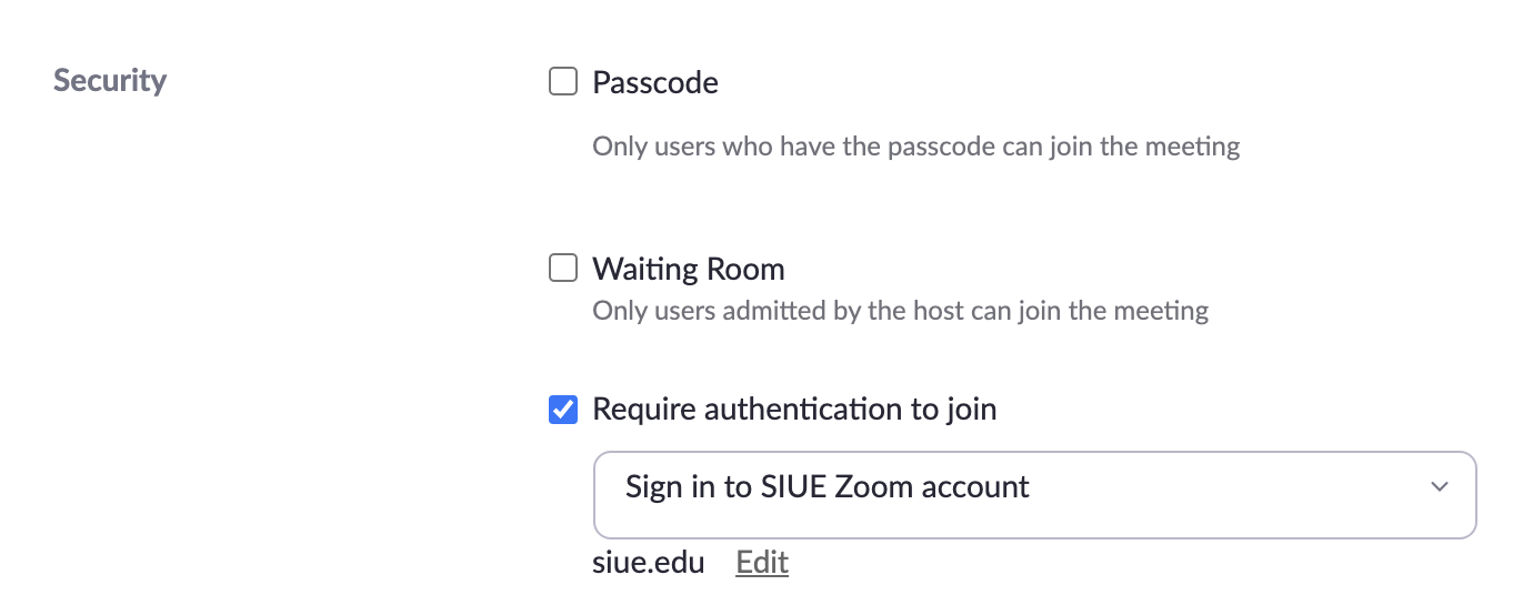Zoom Security Authenicated Users