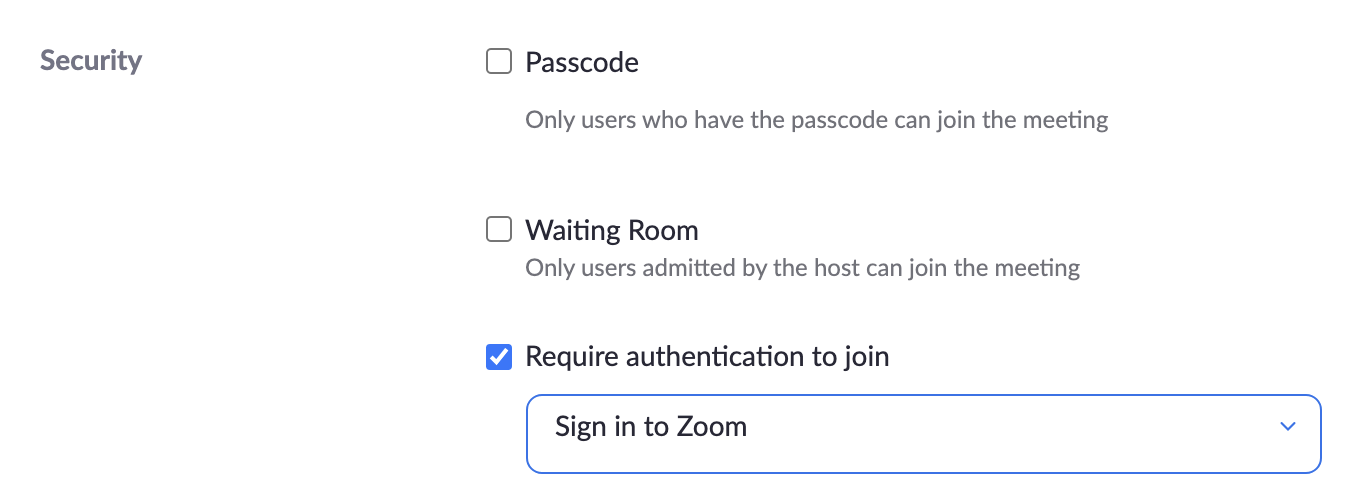 Zoom Security Authenticated Users