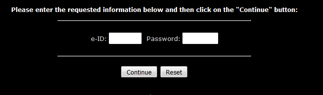 Enter e-ID and Password then Click Continue