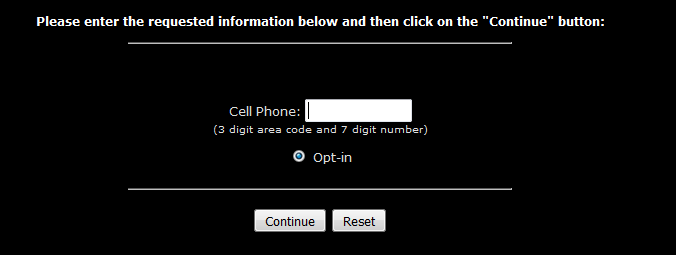 Enter Cell Phone Number in White Box
